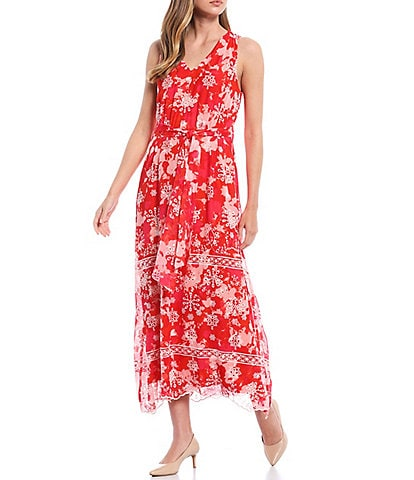 Calvin Klein Embroidered V-Neck Sleeveless Chiffon Belted Maxi Dress