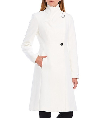 Calvin Klein Envelope Collar Ring Snap Wrap Coat