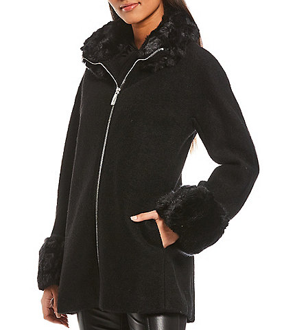 Calvin Klein Faux Fur Collar & Cuff A-Line Zip Front Wool Blend Coat