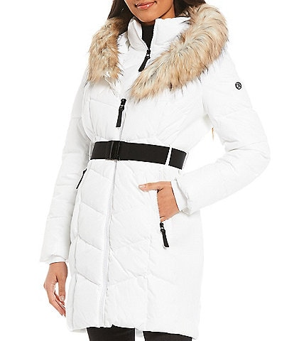 Calvin Klein Faux Fur Trim Hooded Polyfill Down Zip Front Puffer Coat