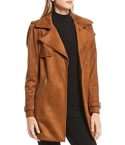 Calvin Klein Faux Suede Open-Front Trench Jacket