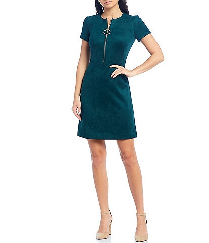 Calvin Klein Faux Suede Short Sleeve Shift Dress