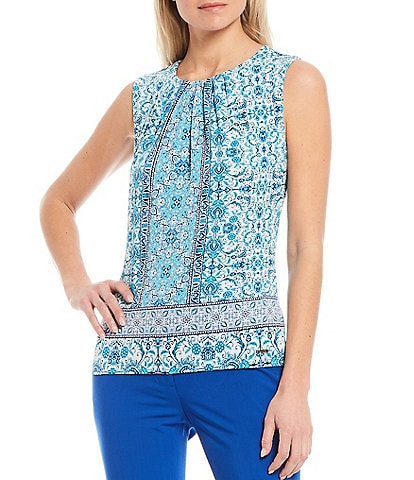 Calvin Klein Filigree Floral Print Matte Jersey Pleat Neck Top