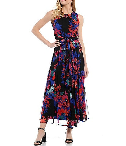 Calvin Klein Floral Chiffon Sleeveless Maxi Dress