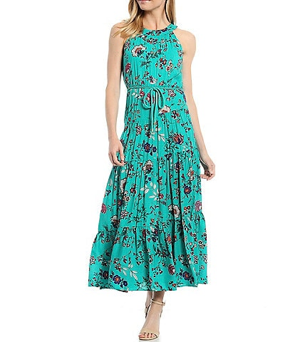 Calvin Klein Floral Halter Neck Maxi Dress