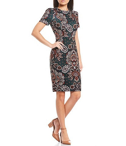 Calvin Klein Floral Paisley Printed Short Sleeve Sheath Dress