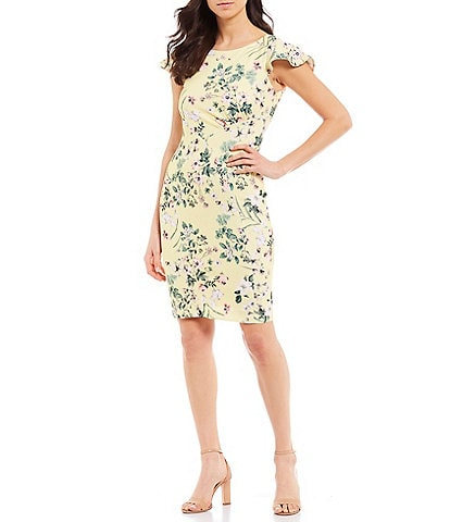 Calvin Klein Floral Print Boat Neck Cap Flutter Sleeve Scuba Crepe Sheath Dress