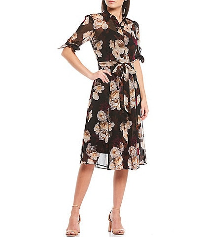 Calvin Klein Floral Print Chiffon Elbow Sleeve Belted Shirt Dress