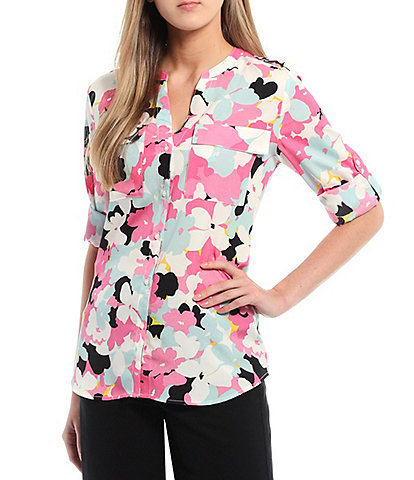 Calvin Klein Floral Print Crepe de Chine Roll-Tab Sleeve Button Front Top