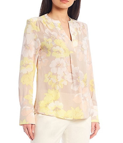Calvin Klein Floral Print Crepe de Chine Split V-Neck Long Sleeve Blouse
