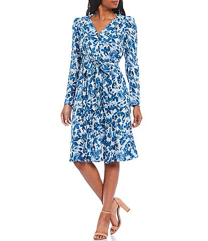 Calvin Klein Floral Print Long Sleeve V-Neck Tie Waist Button Down Dress