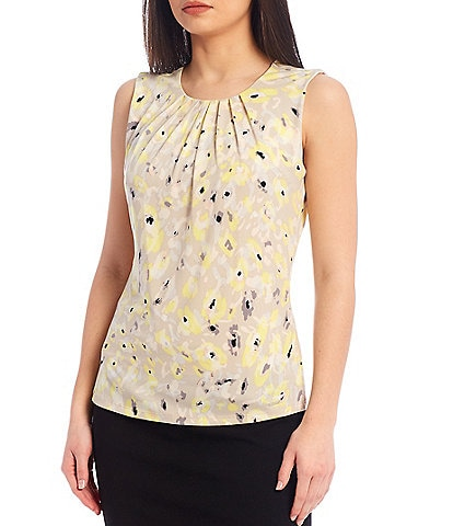 Calvin Klein Floral Print Matte Jersey Pleat Neck Sleeveless Top
