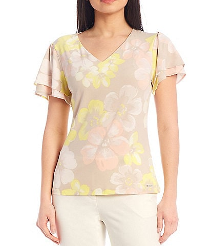 Calvin Klein Floral Print Matte Jersey Pleat Neck Top