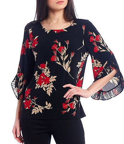 Calvin Klein Floral Print Matte Jersey Top With Pleated Chiffon Ruffle Trim Split Hem Sleeves