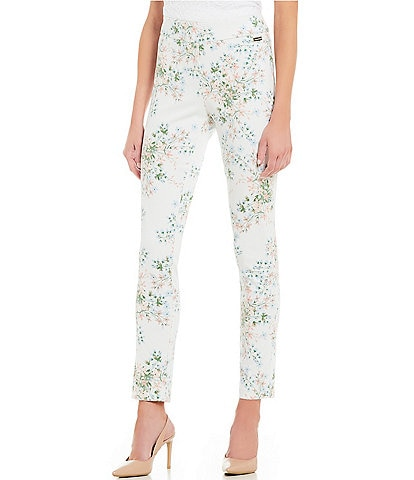Calvin Klein Floral Print Stretch Twill Elastic Waist Slim Leg Ankle Pants