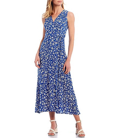 Calvin Klein Floral Printed Sleeveless V-Neck A-Line Maxi Dress