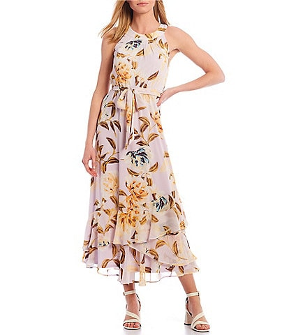 Calvin Klein Floral Sleeveless Halter Neck Belted Chiffon Maxi Dress