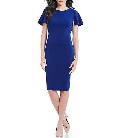 Calvin Klein Flutter Cape Sheath Midi Dress