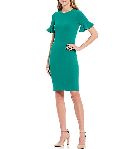 Calvin Klein Flutter Sleeve Sheath Dress