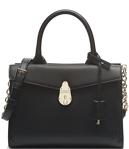 Calvin Klein Front Lock Leather Satchel Bag
