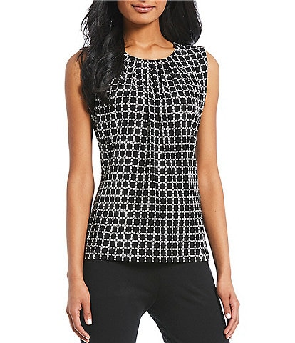 Calvin Klein Geometric Windowpane Print Matte Jersey Pleat Neck Top