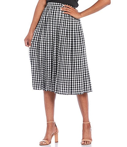 Calvin Klein Gingham Check Pleated Pull-On Midi Skirt