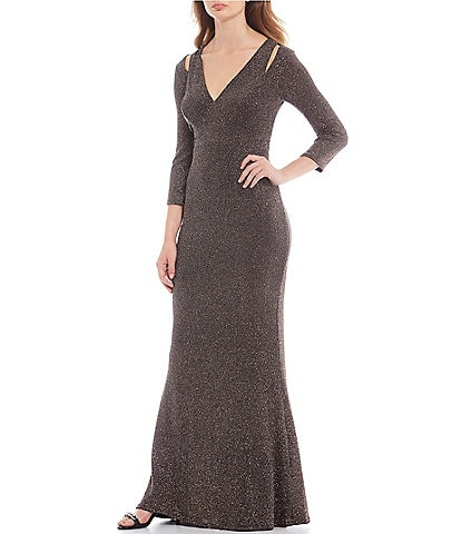 Calvin Klein Glitter 3/4 Sleeve Cut Out Detail Blouson Long Gown