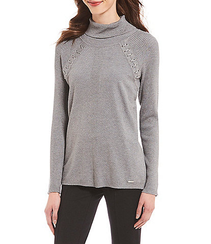 Calvin Klein Grommet Lace-Up Trim Ribbed Knit Turtleneck Sweater