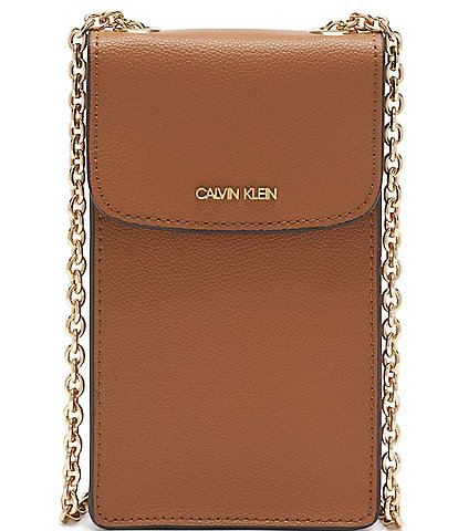 Calvin Klein Hailey Pebble Textured Chain Strap Phone Crossbody Bag