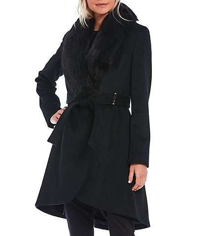 Calvin Klein Hi-Low Faux Fur Collar Wool Blend Belted Wrap Coat
