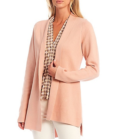 Calvin Klein High-Low Open Front Long Sleeve Sweater Knit Cardigan