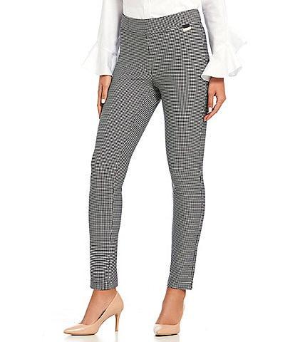 Calvin Klein Houndstooth Print Elastic Waist Slim-Leg Ankle Pants
