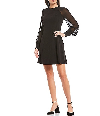 Calvin Klein Illusion Long Balloon Sleeve Scuba Crepe A-Line Dress