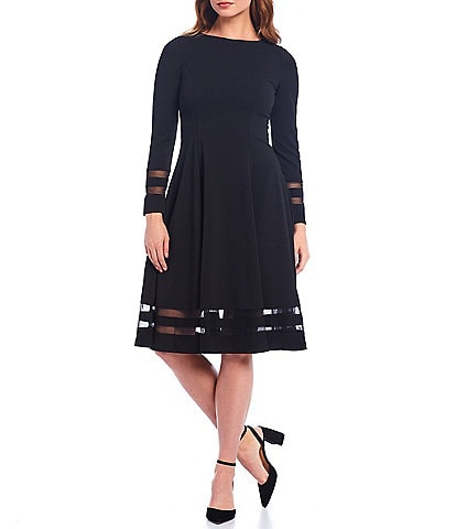 Calvin Klein Illusion Mesh Detail Long Sleeve Scuba Crepe A-Line Dress