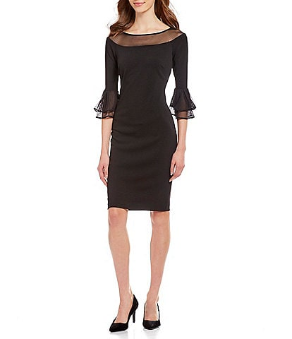 Calvin Klein Illusion Mesh Neckline 3/4 Bell Sleeve Dress