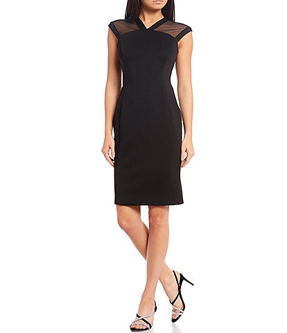 Calvin Klein Illusion Cap Sleeve Scuba Sheath Dress