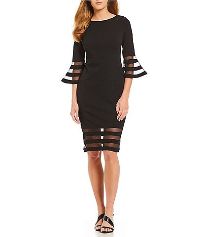 fb556025635 Calvin Klein Illusion Sleeve Sheath Dress