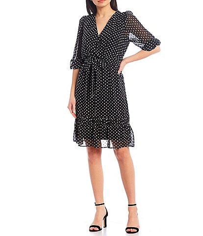 Calvin Klein Jacquard Clip Dot Chiffon Surplice V-Neck Long Sleeve Tie Waist Sash Belted Dress
