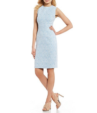 a49c64986d Calvin Klein Printed Jacquard Sleeveless Sheath Dress