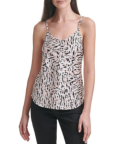 Calvin Klein Jeans Animal Printed V-Neck Sleeveless Charmeuse Tank