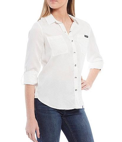 Calvin Klein Jeans Button Front Roll-Tab Shirt