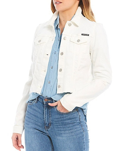 Calvin Klein Jeans Puff Sleeve Denim Cropped Jacket