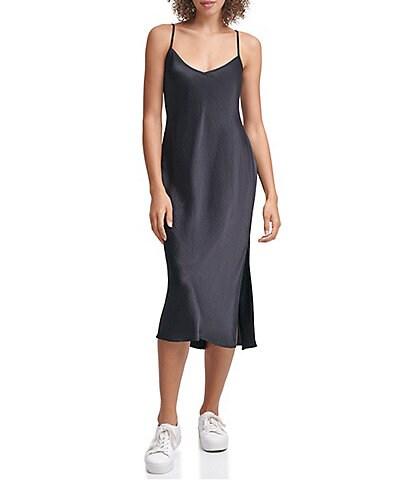 Calvin Klein Jeans V-Neck Sleeveless Charmeuse Side Slit Spaghetti Strap Slip Dress