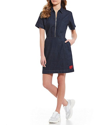 Calvin Klein Jeans Zip Up Denim Dress