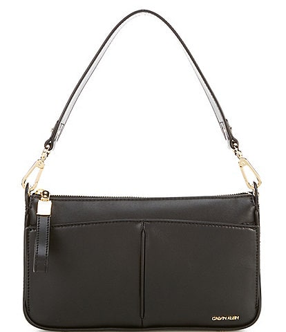 Calvin Klein Jenni Positano Leather Top Zip Shoulder Bag
