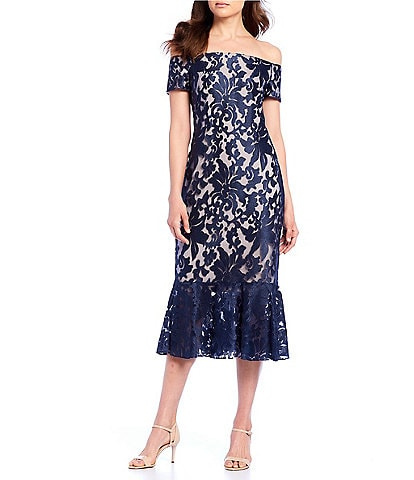 a51f8999b5e Calvin Klein Lace Off-the-Shoulder Ruffle Midi Dress