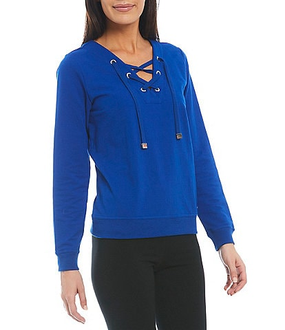 Calvin Klein Lace Up Front V-Neck Long Sleeve French Terry Pullover