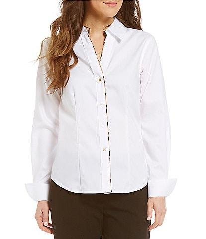 Calvin Klein Leopard Trim Wrinkle Free Oxford Shirt