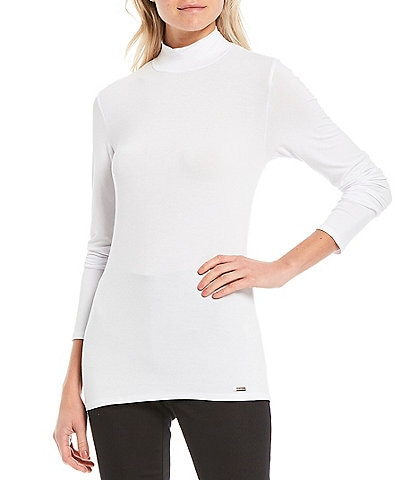 Calvin Klein Liquid Knit Jersey Mock-Neck Long Sleeve Top