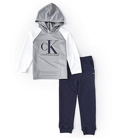 Calvin Klein Little Boys 2T-7 Long-Sleeve CK Logo Waffle Knit Hooded Tee & Jogger Pants Set